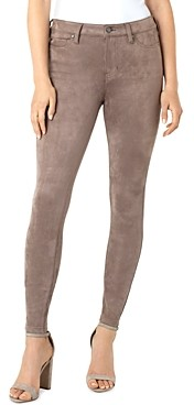 Liverpool Los Angeles Abby Faux Suede Skinny Ankle Jeans in Mushroom