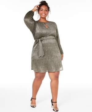 City Studios Trendy Plus Size Pleated Glitter Shift Dress