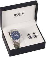 Hugo Boss Black Hugo Boss Blue Dial Day Date Stainless Steel Mens Watch and Cufflink Gift Set