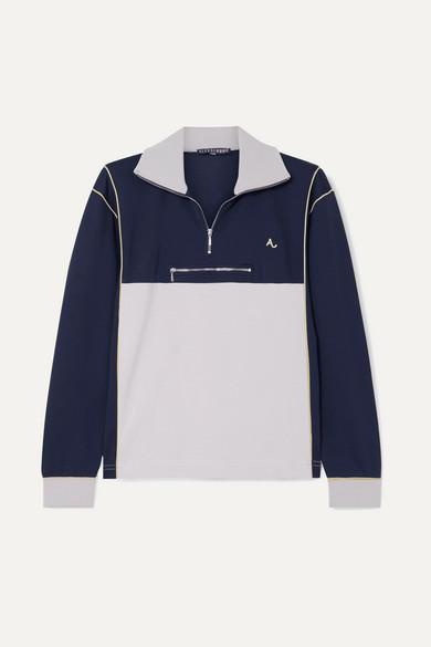 ALEXACHUNG Cotton-blend Jersey Sweatshirt - Navy