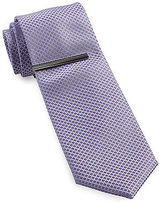 Gold Series Tonal Grid Tie with Tie Bar Casual Male XL Big & Tall