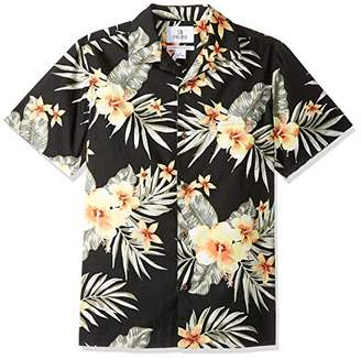 28 Palms Standard-fit 100% Cotton Tropical Hawaiian Shirt Black/Orange Hibiscus Floral), (EU S)