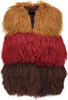 Anna Sui Color-block shearling and suede vest