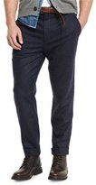 Brunello Cucinelli Chalk-Stripe Flat-Front Trousers, Navy