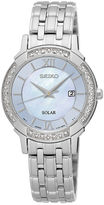 Seiko Womens Crystal-Accent Mother-of-Pearl Solar Bracelet Watch SUT277