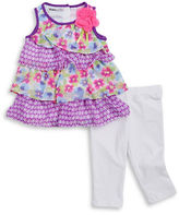 Kids Headquarters Girls 2-6x Little Girls Tiered Tunic and Leggings Set