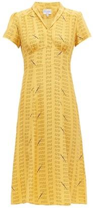 HVN Morgan Love Notes Silk Dress - Yellow