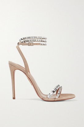 Aquazzura So Vera 105 Crystal-embellished Suede Sandals - Beige