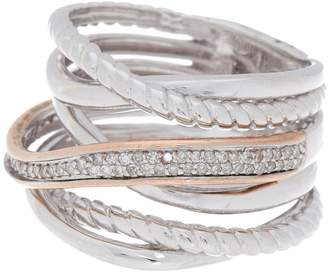 Effy Sterling Silver Layered Crystal Ring - Size 7