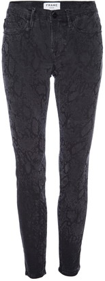 Frame Le Skinny De Jeanne Tonal Python Print Jeans