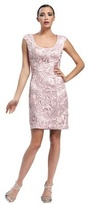 Sue Wong Floral Embroidered Sheath Dress in Rose Cocktail Dress