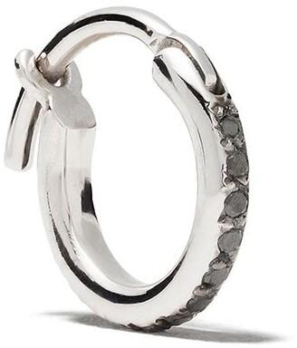 Ileana Makri 18kt Oxidised White Gold Mini Diamond Single Hoop Earring