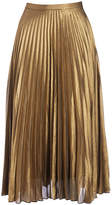 Live A Little Gold Pleated Midi Skirt