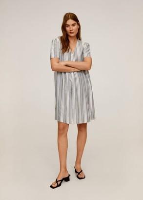 MANGO Striped short dress ecru - 2 - Women