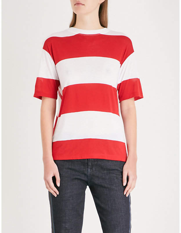 Diane von Furstenberg Striped-pattern asymmetric cotton T-shirt