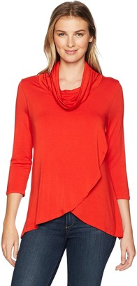 Slim Sation SLIM-SATION Women's 3/4 Sleeve Cowl Collar Wrap Front High-Low Solid Top