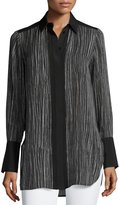 Vince Wavy Stripe-Print Silk Blouse, Black/Off White