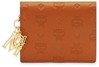 MCM Klara Logo Monogram Leather Mini Continental Wallet