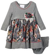 Iris & Ivy Stripe Knit Chiffon Empire Dress & Bloomer Set (Baby Girls)