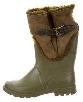 Dolce & Gabbana Shearling Round-Toe Rain Boots