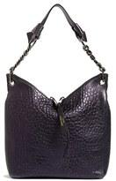 Jimmy Choo Raven S Grainy Metallic Leather Shoulder Bag - Blue