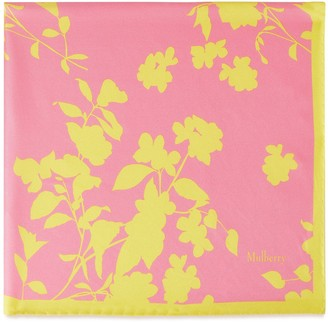 Mulberry Flora Silhouette Square Candy Pink Silk Twill