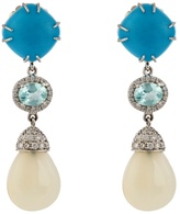 NSR NINA RUNSDORF Diamond, turquoise, opal & white-gold earrings