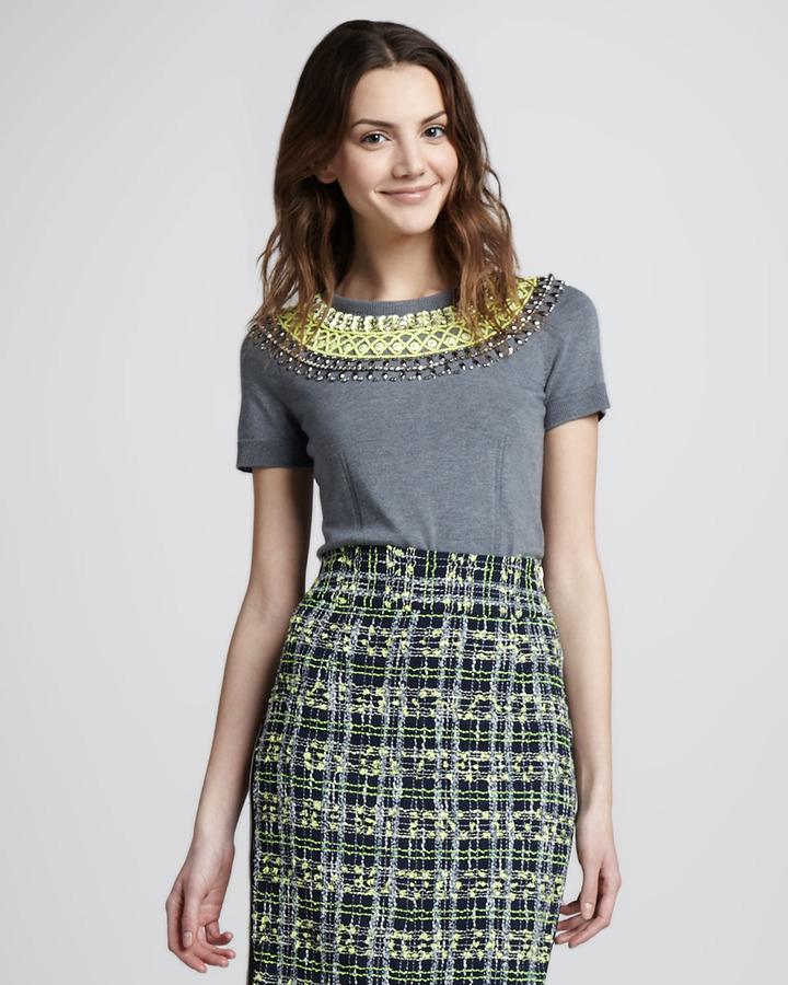 Milly Liya Embellished Sweater