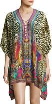 Camilla Embellished Lace-Up Silk Caftan Coverup, Kingdom Call