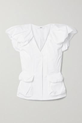 Area Gathered Cotton-blend Poplin Top - White