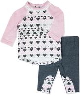 Baby Essentials Pink & Gray Heart Hi-Low Top & Leggings - Infant