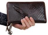 Contacts Men's Genuine Leather Clutch Purse Wristlet Alligator Pattern Handbags Business Long Wallet