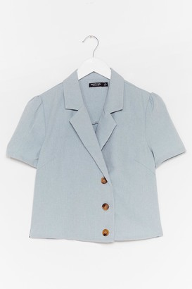Nasty Gal Womens No If's or Buttons Puff Sleeve Cropped Blouse - Blue - 4