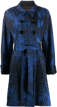 Talbot Runhof Belted Jacquard Coat