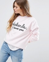Daisy Street Weekend I Love You Sweatshirt Sweater