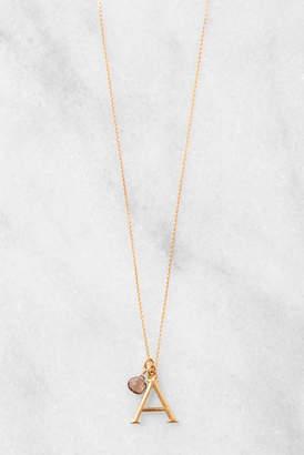 David Aubrey Stone Drop Initial Pendant Necklace Gold N