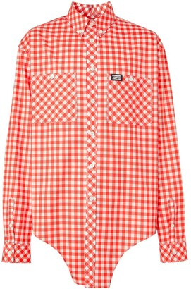 Burberry Cut-Out Hem Gingham Shirt