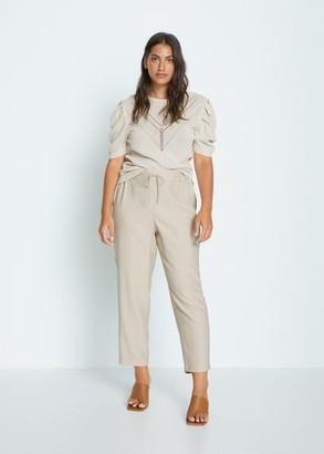 MANGO Violeta BY Flowy cropped pants beige - S - Plus sizes