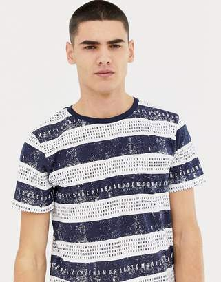 Tom Tailor letters in stripe t-shirt in blue
