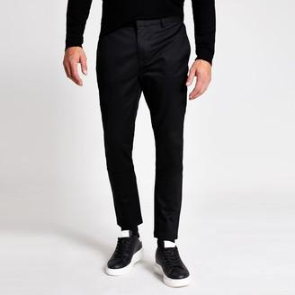 River Island Mens Black skinny smart chino trousers