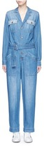 Current/Elliott 'The Whitney Coverall' patchwork denim belted overalls