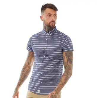 Fluid Mens Striped Short Sleeve Shirt Peacoat/White