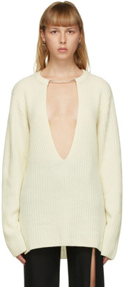 Ann Demeulemeester Off-White Wool Oversized Sweater