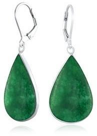 Overstock Gemstone Teardrop Drop Dangle Lever back Earrings 925 Sterling Silver