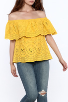 Cupcakes & Cashmere Davy Eyelet Off Shoulder Top