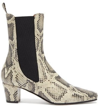 Paris Texas Square-toe Python-effect Leather Chelsea Boots - Cream Multi