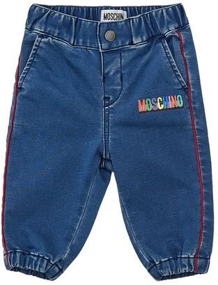 Moschino Logo Print Cotton Chambray Pants
