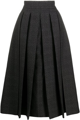 Fendi Check-Pattern Pleated Full Skirt