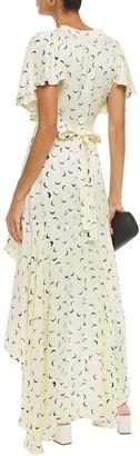 Paper London Canyon Asymmetric Printed Satin-crepe Wrap Dress