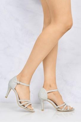 Miss Diva Ashley 3 Strap Diamante Open Toe Glitter Sandal in Silver Glitter